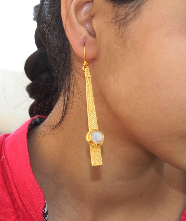 3.26 Round Rainbow Moonstone Gold /& Silver Spike Earrings  Bollywood Designer Earrings  OOAK Gemstone Earrings  Finish You Select BE68