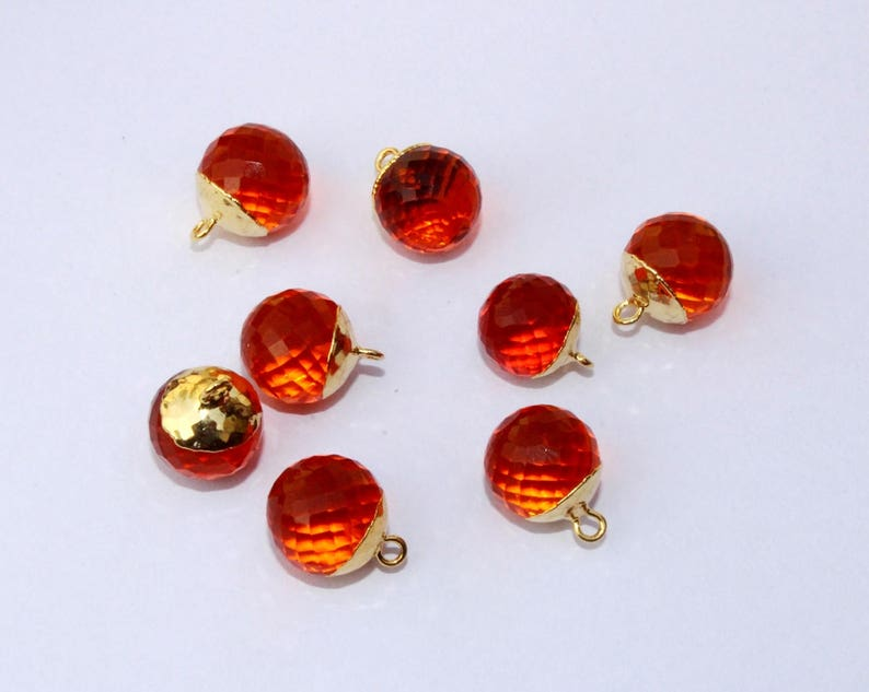 2 Pcs 1 Match Pair 12mm 24K Gold Electroplated Capped Orange Quartz Faceted Ball Charm Pendant  Earrings Findings  DIY Jewelry Making QC05