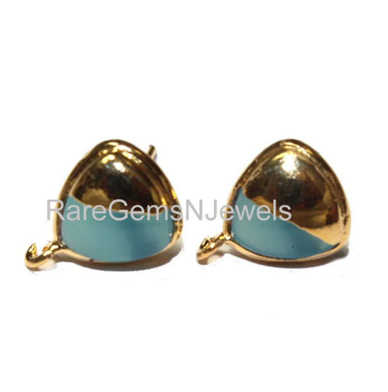 1 Pair 24kt Gold Electroplated Aqua Blue Chalcedony Trillion Shaped Stud Ear-Post  10mm Gemstone Ear-Post  DIY Jewelry Making Supply LS52
