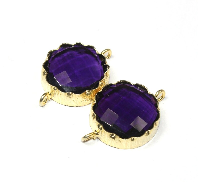 1 pc Violet Agate Connector Gold plated Bezel