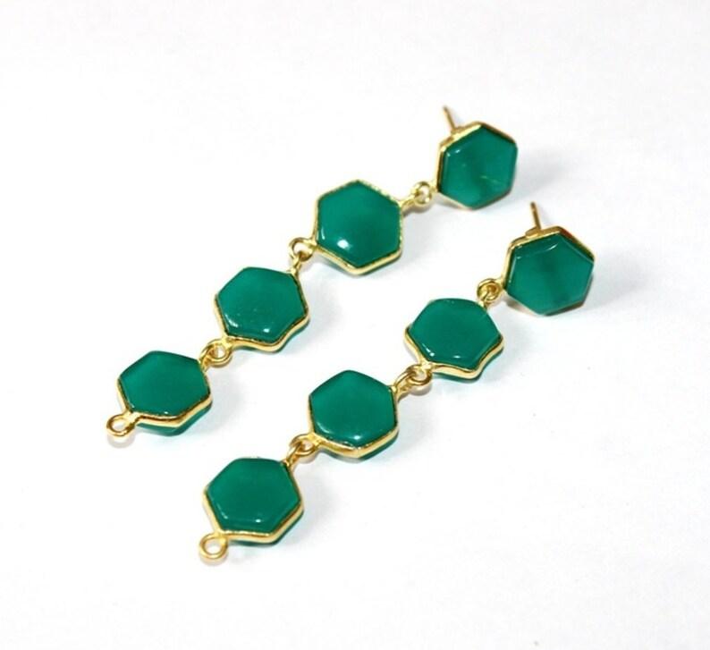 Wedding Jewelry  Gemstone Earrings 2.63 Green Chalcedony Bezel Set Long Hexagon Earrings  Four Stone Gold Earrings  Gift Idea  Bridal