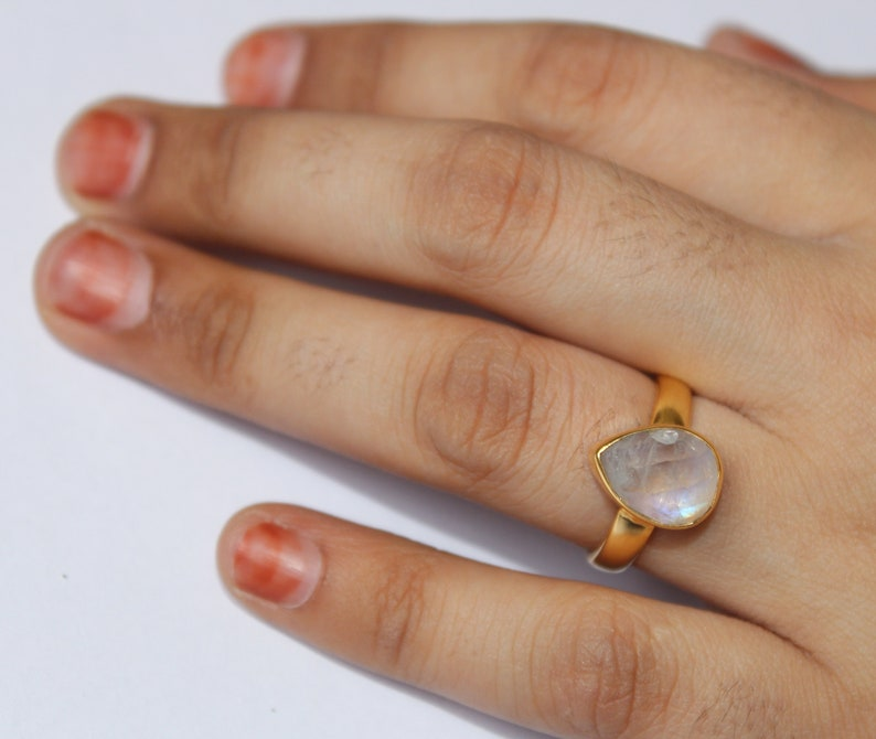 Rainbow Moonstone Pear Ring  22kt Gold Vermeil 925 Solid Sterling Silver Ring  Size US 6  Semi Precious Gemstone Cabochon Ring  RG53