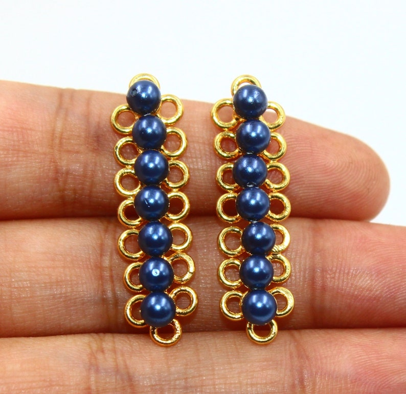 22kt Gold Plated Blue Shell Pearl Multi Strand Link Connector  34x9mm Sixteen Loops Pendant  DIY Jewelry Making  Earring Bracelet Finding