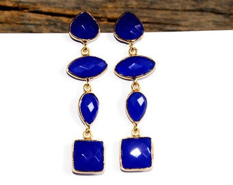 """2.20"""" Faceted Blue Chalcedony Bezel Set Long Earrings, Four Stone Gold Earrings, Bridal-Wedding Jewelry, Gemstone Earrings, Gift Idea, SER49"""