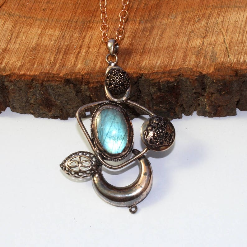 1Pc 91x60mm Copper Electroformed Labradorite Necklace Ancient Crescent Moon Necklace  Gemstone Antiqued Necklace DIY Jewelry Making AQP72