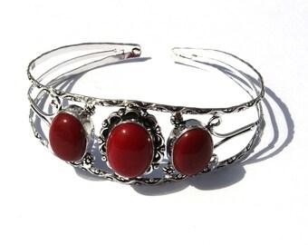 3 Stone Bangle Bracelet / Red Coral Cuff Bracelet / Fashion Jewelry, Fashion Bracelet / Cuff Bracelet Bangle S06