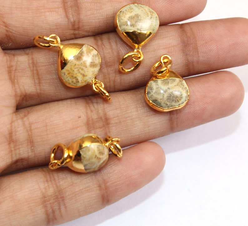 6 Pcs Fossil Coral Heart Connector with 24K Gold Electroplated Edge /& Capped  Single or Double Loop Gemstone CharmDIY Jewelry Making EHP09