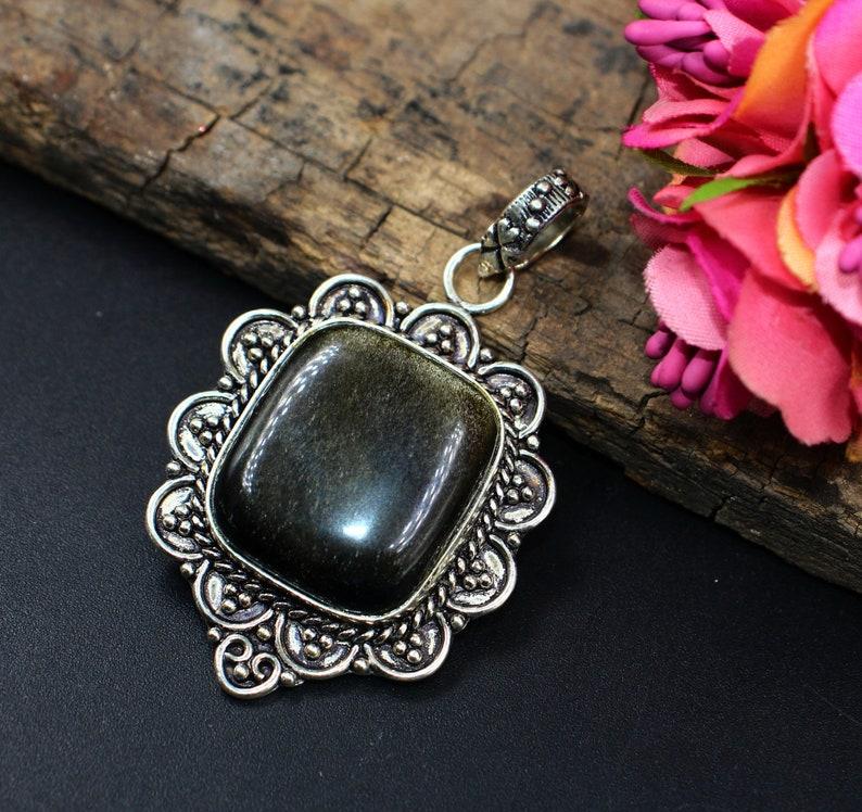 DIY Jewelry Making Designer Handmade Gemstone Pendant 925 Sterling Silver Natural Gold Sheen Obsidian Cabochon Pendant Necklace Finding