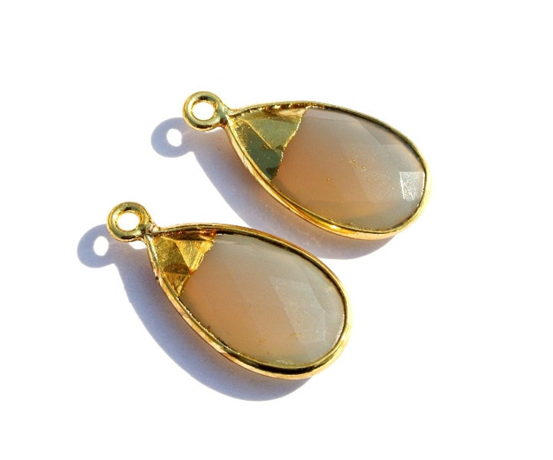 1 Pc 20x13mm 24Kt Gold Electroplated Capped Gray Chalcedony Faceted Pear Pendant  Bezel Set Single Loop Pendant  DIY Jewelry Making Supply