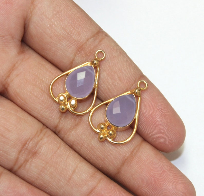 2 Pcs 25x17mm Faceted Lavender Chalcedony Pendant  Gemstone Charm Pendant  Pair For Earrings  Single Loop Connector  Jewelry Making FE42