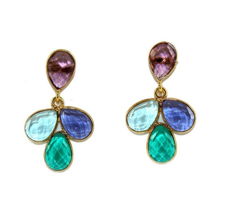 Multi Color Quartz Earrings  Faceted Pear Cut Gemstone Earrings  1.29 Bezel Set Earrings  18k Gold Plated Earrings  Gift Idea  BZ11