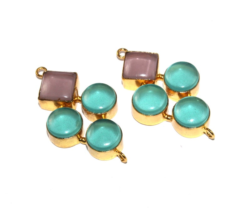 Genuine Natural Aquamarine Oval Shape Gold Plated DIY Earring Pair Connectors