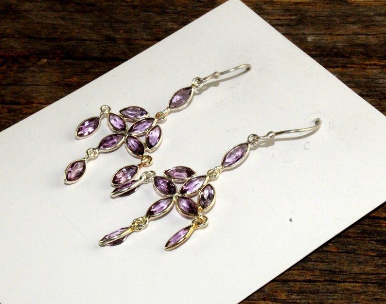 2.51 925 Sterling Silver Bezel Set Natural Amethyst Marquise Earrings  Gemstone Earrings  February Birthstone  Bridal Wedding SLR02