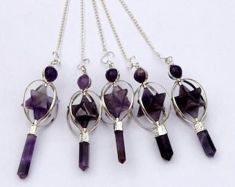 Amethyst Merkaba Pendulum - Dowsing Pendulum - Dowsing Pendulum Pendant - Crystal Quartz pendulum - Chakra pendulum - Divination tools