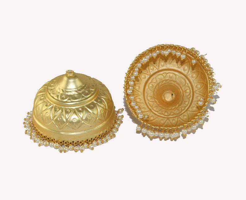 2 Pcs 50x51mm 22kt Gold Plated Brass Jhumkas  Dome Shaped Connectors  Pearl Beads Long Jhumka Earrings Pair For Jewelry Making  Findings