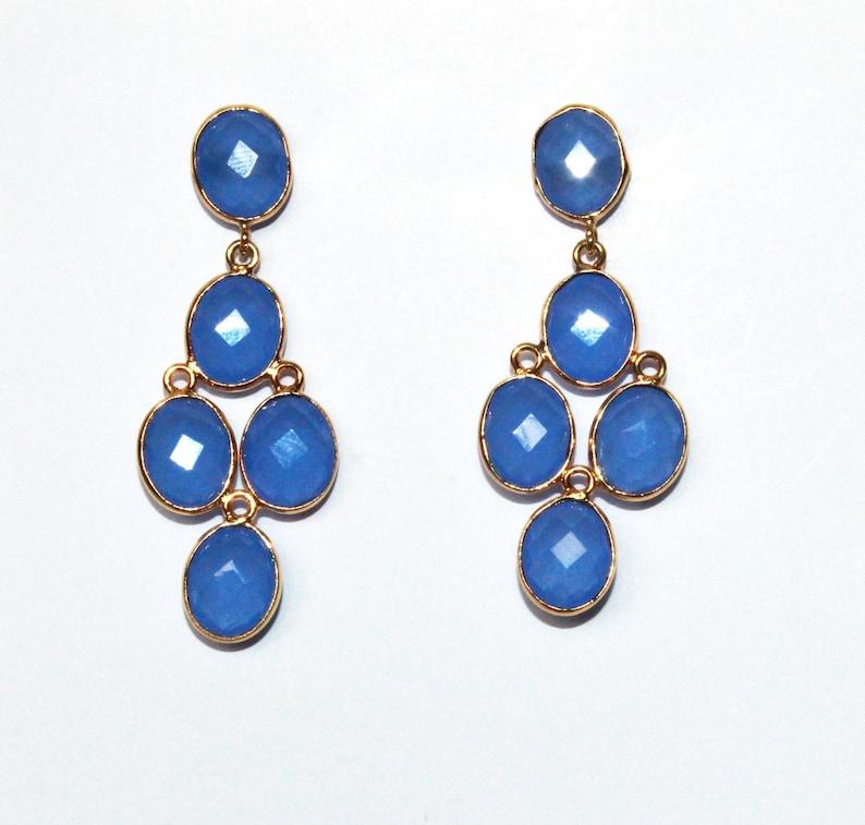 1.88 Faceted Ice Blue Chalcedony Bezel Set Oval Earrings Five Stone Earrings Gift Idea Bridal-Wedding Jewelry Gemstone Earrings DCE140
