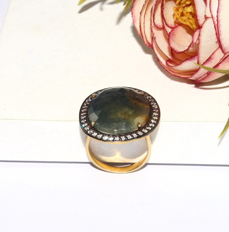 925 Sterling Silver Natural Sapphire Ring  Size US 7  Gold /& Black Rhodium Vermeil Ring  Zircon Pave Jewelry  Gift For Her  SL86
