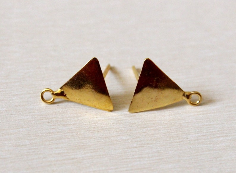 1 Pair 22kt Gold Plated Triangle Connector Post Stud  16x14mm Gold Posts  DIY Jewelry Making Supplies  Stud Ear-post  Finish You Select