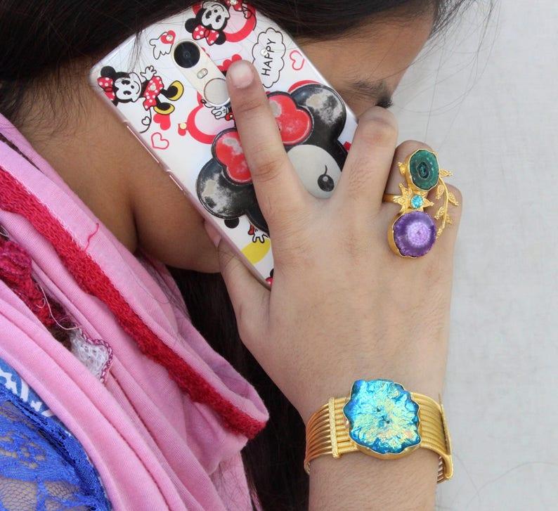 Swiss Blue Titanium Solar Quartz Cuff Bracelet  Gold Leaf Bracelet  Adjustable Bangle Bracelet  Statement Bracelet  Gift For Her BB50