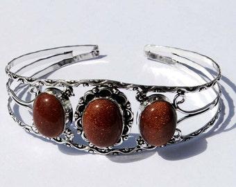 3 Stone Bangle Bracelet / Gold Stone Cuff Bracelet / Fashion Jewelry, Fashion Bracelet / Cuff Bracelet Bangle S04
