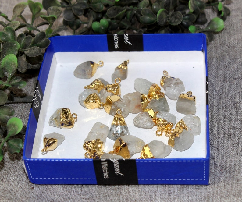 DIY Gold Electroplated Natural Rough White Topaz Nugget Charm  Raw Gemstone Pendant  Jewelry Making  Bracelets Charms Mini Pendant RO13
