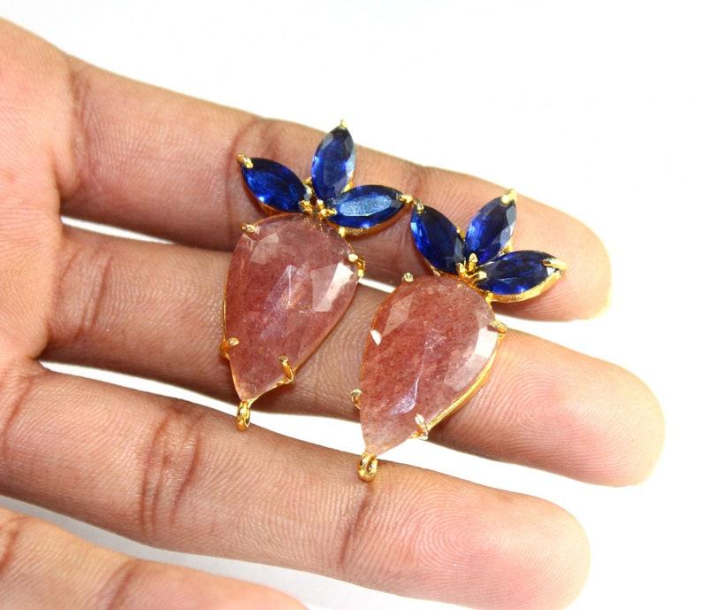 38mm 22kt Gold Plated Gemstone Connector Post Stud DIY Jewelry Supplies Natural Strawberry Quartz /& Kyanite Quartz Prong Set Earring Posts