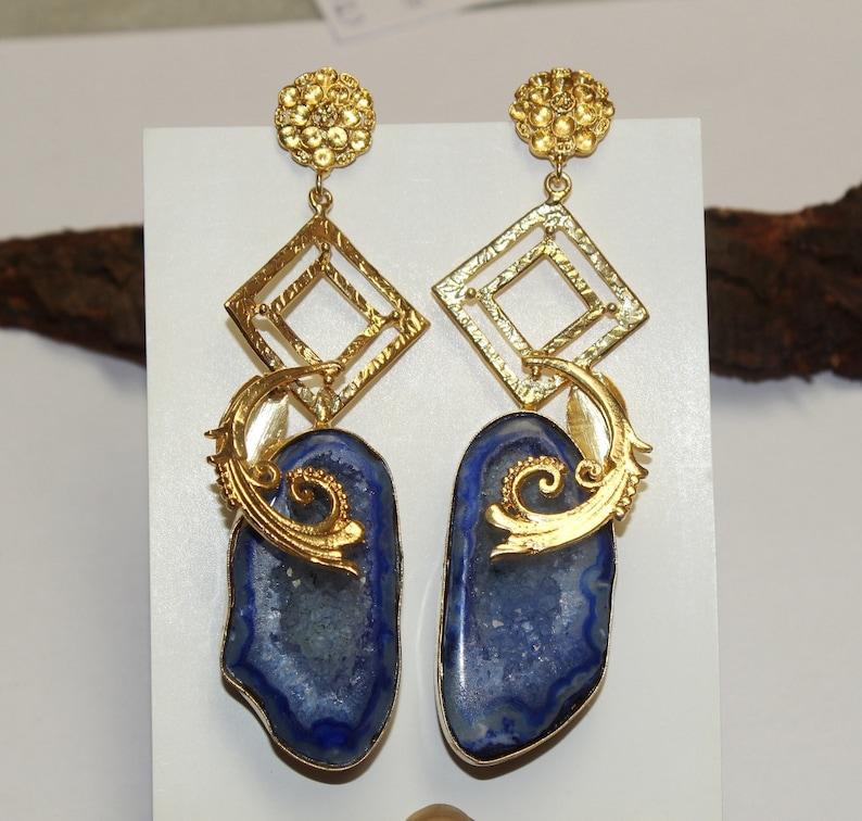 4.2 Blue Druzy Geode Earrings  Gold Plated Occo Earrings  Gemstone Earrings  Druzy Earrings  Gift Idea  Wedding OOAK Jewelry  ED01