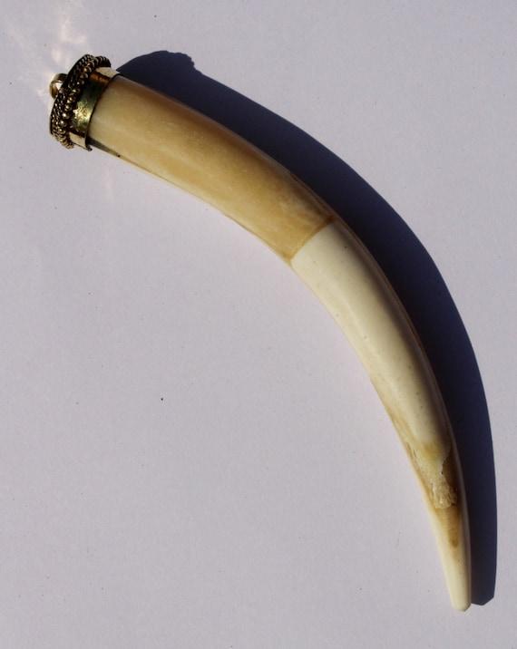 1 Pc 85x18 mm Brown Bone Tusk Horn Pendant  Delicate Bone Tusk Horn  Bohemian Large Tusk Horn Craved Pendant  Tibetan Nepali Pendant