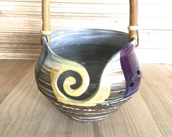 Beautiful Handmade Marbled Yarn Bowl, pottery yarn bowl, ceramic yarn bowl