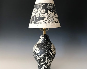 Porcelain Table Lamp, handmade ceramic lamp, hand carved sgraffito black and white pottery