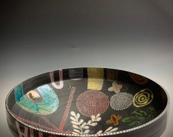 Midcentury Polka Dots Stripes Colorful Abstract Handmade Pottery Bowl with Porcelain , raku bowl,