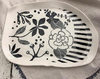 Handmade Porcelain plate, hand carved ceramic platter, sgraffito plate