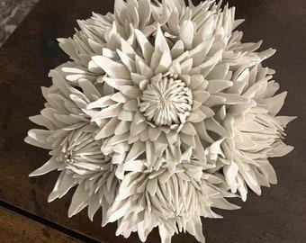 Porcelain Wall Tile Protea,Handmade Ceramic Sculpture,Pottery Wall Art