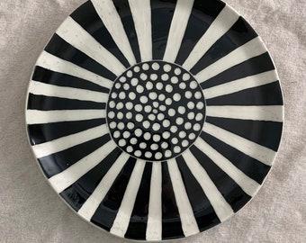 Handmade Porcelain plate, hand carved ceramic platter, sgraffito oval black and white