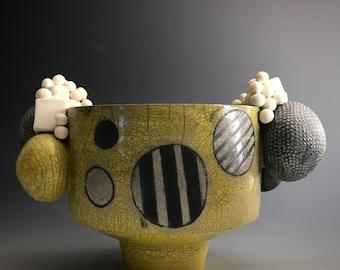 Midcentury Handmade Pottery Vase, vessel with bubbles handles, raku mix with porcelain vessel