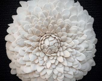 "Porcelain Wall Tile, ""Dahlia""Handmade Ceramic Tile, Pottery Wall Art"