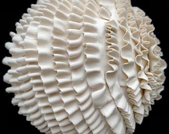 "Porcelain Wall Tile ""Ruffled""Handmade Ceramic Tile, Pottery Wall Art"