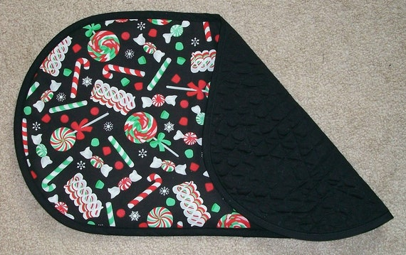 Christmas Table Runner with Candles and Bells Oval Xmas Decor New Orange