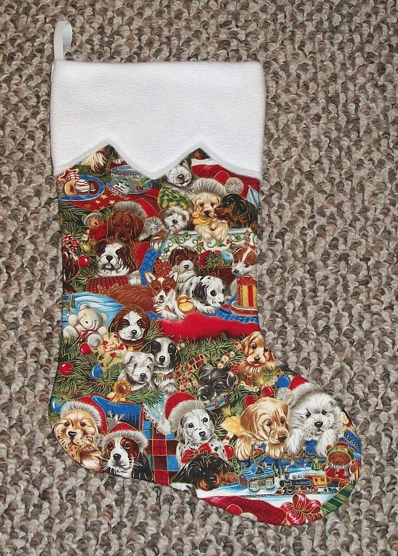 Pet Canine Animal Handmade Holiday Christmas Stocking Boot Puppy Dog Dogs Santa Hats 4 Choices Personalize