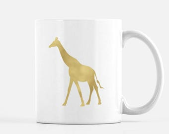 Giraffe Mug // Gold foil or black // Gift for animal lover, zoo mug, gift for best friend, animal mug, giraffe gift
