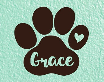 Paw  Decal, Pet Name Decal, Paw Print Sticker, Dog Decal, Paw Print Tumbler Decal, Pet Memorial Decal, Dog Mom Decal, Dog Mom Gift