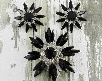JUDY LEE Vintage Starburst Rhinestone Brooch Earring Set Jet Black Slim Navette Flower Crystal Clear