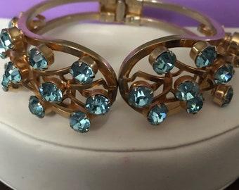 Vintage Clamper Bracelet with Aqua Rhinestones