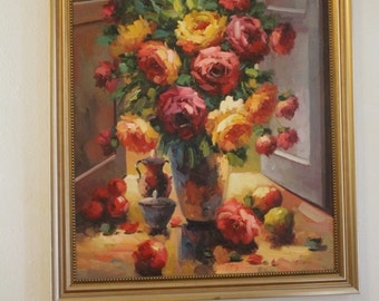 Beautiful Still Nature, Oil on Canvas painting / Flowers Roses Vase / C. Lelli C. Lolli / Window