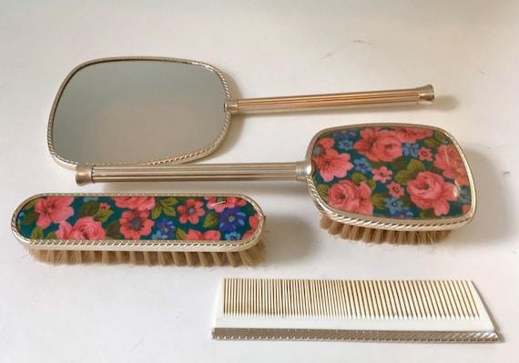 Mid Century Vanity Set Of Brushes Comb, Dressing Table Brush Comb Mirror Set