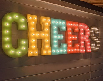 """On Sale! 21"""" CHEERS Metal Sign - Plugin, Battery or Solar - Cheer Squad Celebrate Congrats - Rustic Vintage Style Marquee Light Up Letters"""