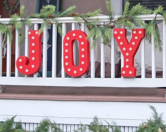 "On Sale! 21"" JOY Metal Sign - Plugin, Battery or Solar - Holiday Noel Santa Festive Joyous - Rustic Vintage Style Marquee Light Up Letters"