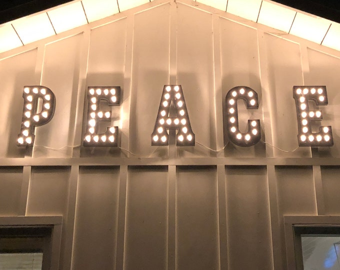 "Featured listing image: On Sale! 21"" PEACE Metal Light Up Sign - Marquee Letter Letters Holiday Festive On Earth - Rustic Vintage Style Christmas Light Up Letters."
