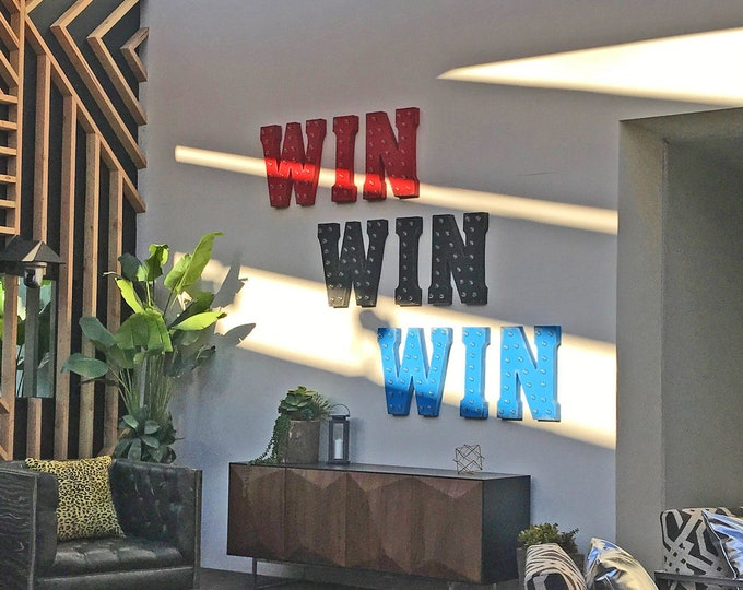 """Featured listing image: On Sale 21"""" WIN Metal Sign - Plugin, Battery or Solar - Prize Carnival Fair Amusement Winner - Rustic Vintage Style Marquee Light Up Letters"""