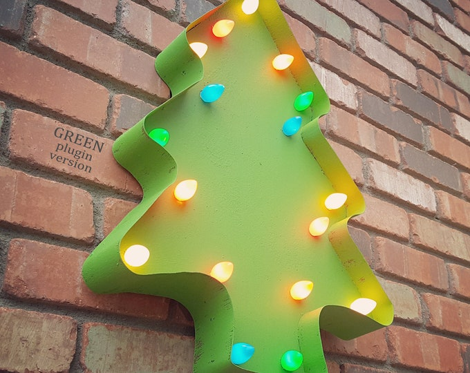 "Featured listing image: On Sale! 24"" Christmas Tree - Plugin, Battery or Solar - Happy Holidays Xmas Nostalgic Vintage Cookie Cutter Rustic Marquee Light Up Sign"